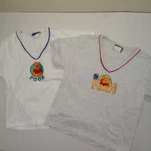 Vtg 2 Pooh 100 acres v-neck t-shirts L